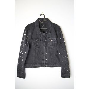 NWT Bebe Size L Black Denim Jacket With Pearls